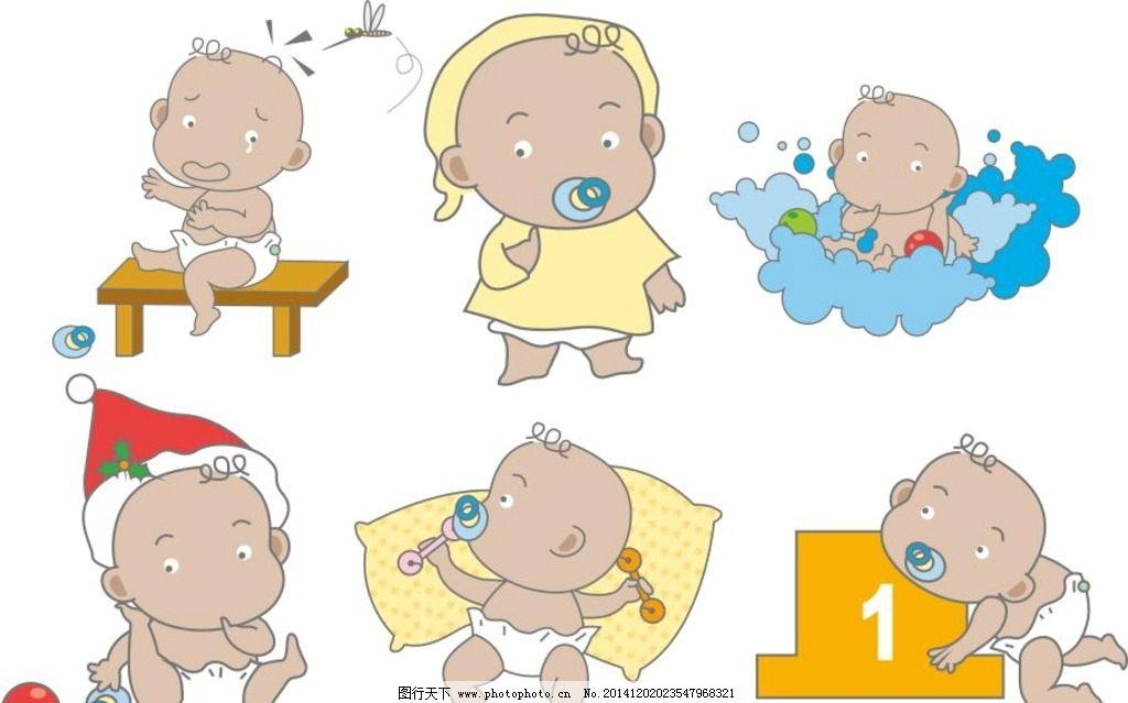 玩耍 奶嘴 躺着 小孩子 幼儿 儿童幼儿 卡通 手绘 矢量人物 矢量 婴儿