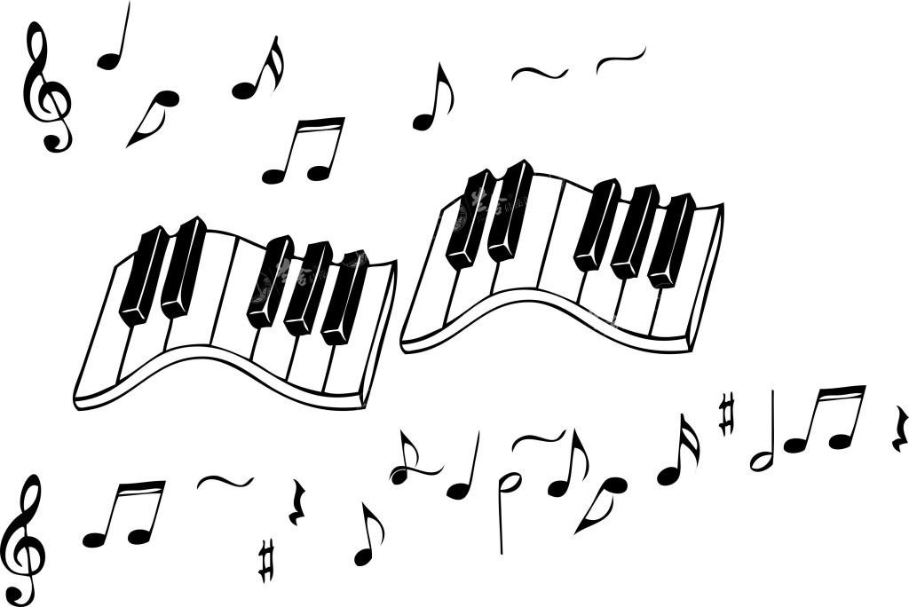 五线谱音符-少女小猫的画法简笔画图片