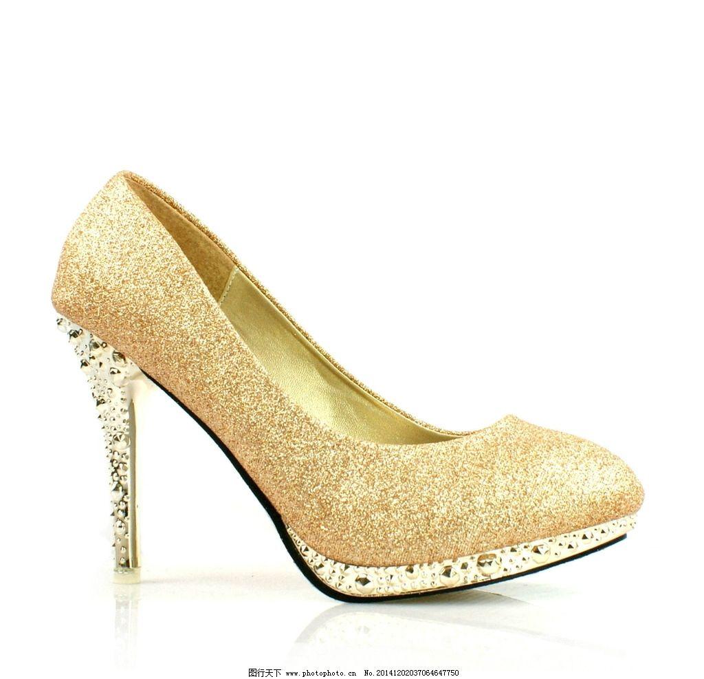时尚黄金钻石高跟鞋图片