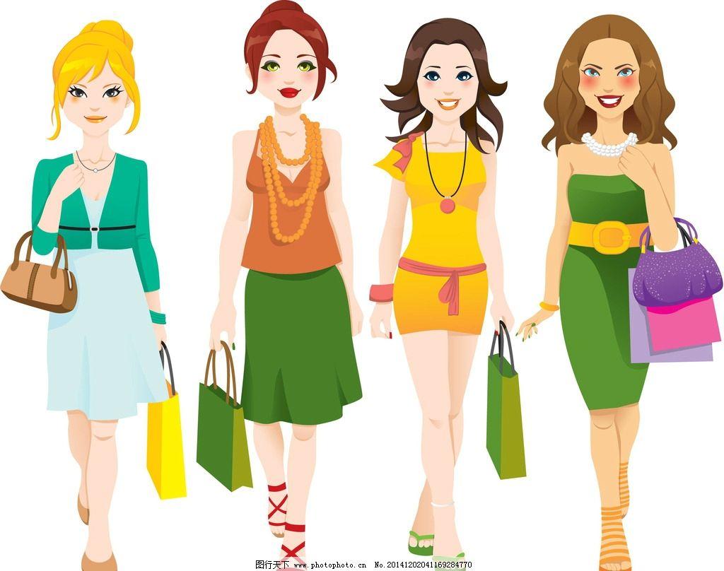 手绘美女 女人 女孩 时尚美女 购物 卡通美女 少女 美丽 手绘 女性