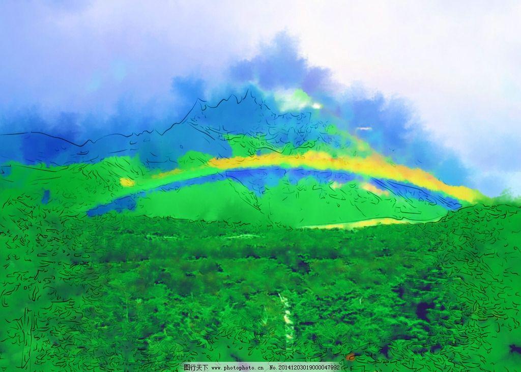 风景油画 自然风景 山水画 水墨画 风景写真 水彩画 美术 手绘
