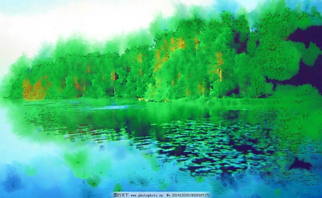 风景油画 自然风景 山水画 风景写真 美术 手绘 合成油画 设计 文化