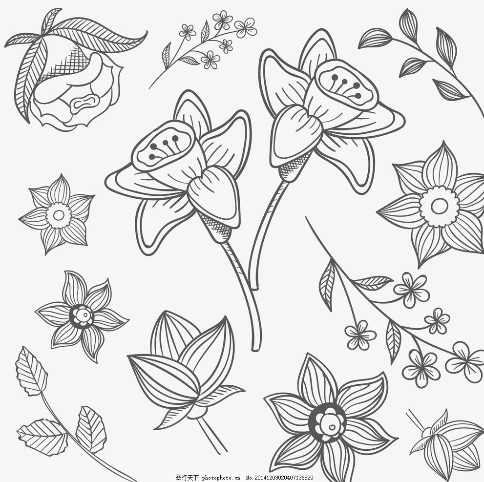 手绘花卉 梦幻花卉 植物花纹 红玫瑰花 手绘花朵 手绘鲜花 花卉插画