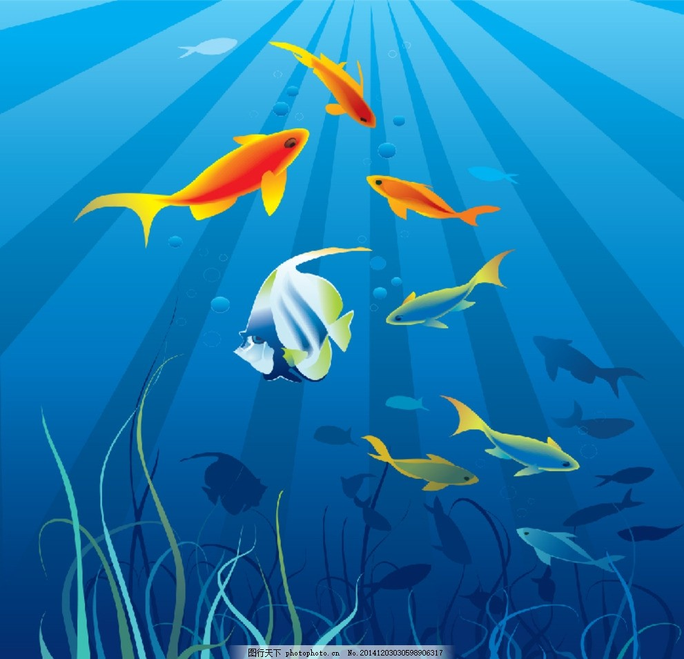海洋世界背景 美丽海里世界 蔚蓝海洋背景 热带鱼 彩绘热带鱼 卡通图片