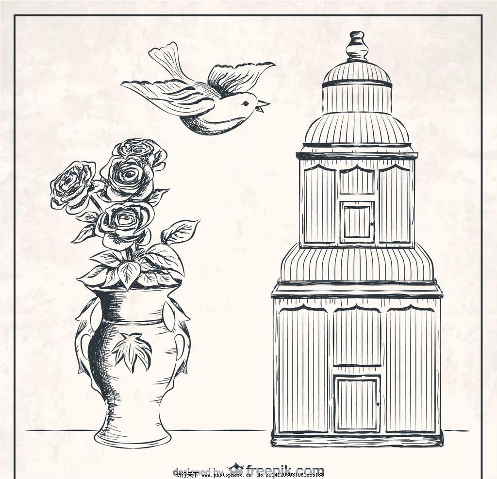 花瓶手绘线描画 手绘画