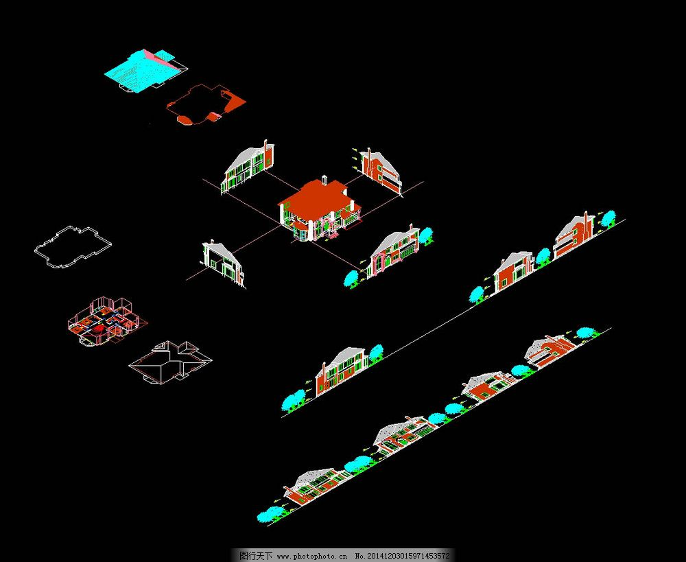 别墅全三维设计图cad图纸