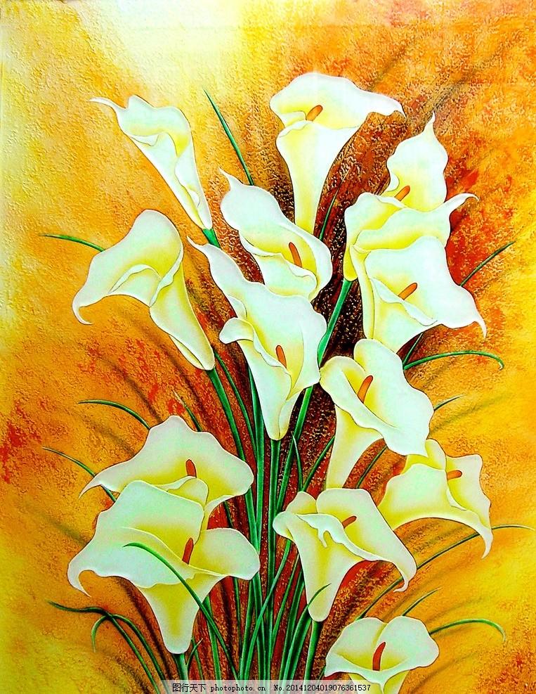 中国元素 工笔画 中式装饰 艺术玻璃设计 玻璃创意设计 油画 马蹄莲