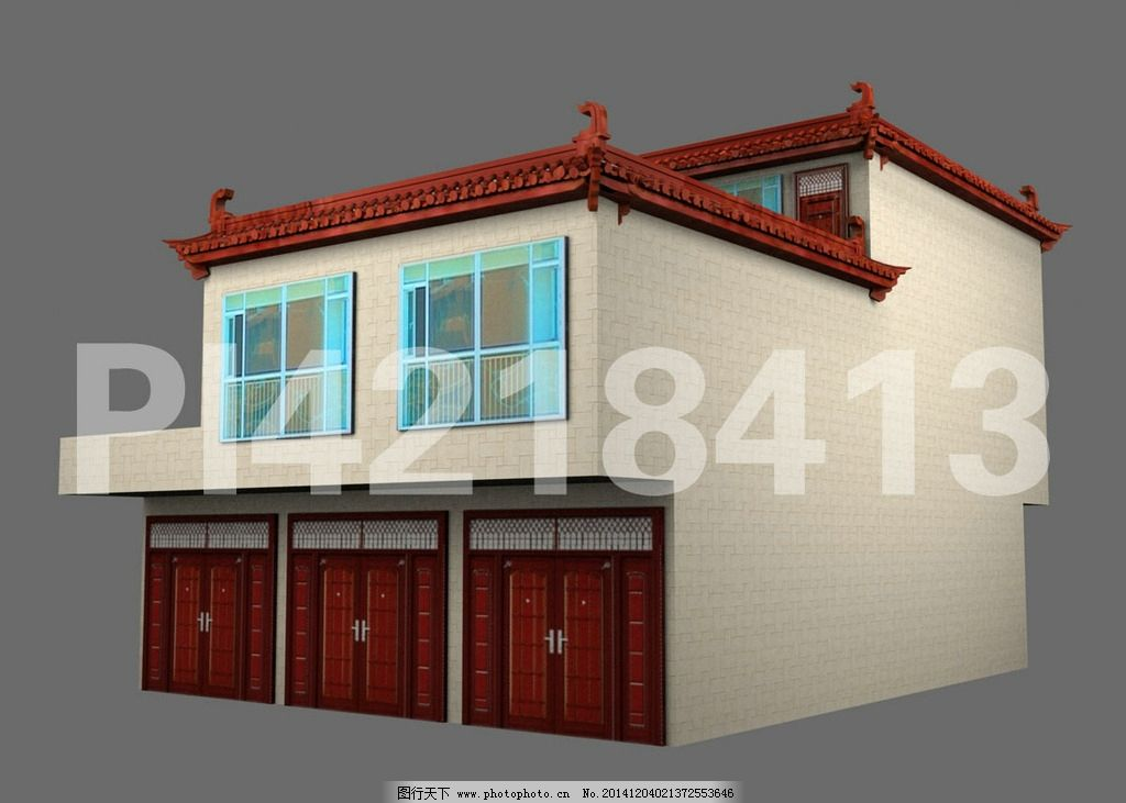 农村 自建房 效果图 3D 别墅 瓦 屋顶 琉璃瓦 屋檐 瓷砖 大门 窗子 窗户 阳台 设计图 施工图 设计 3D设计 室外模型 72DPI MAX