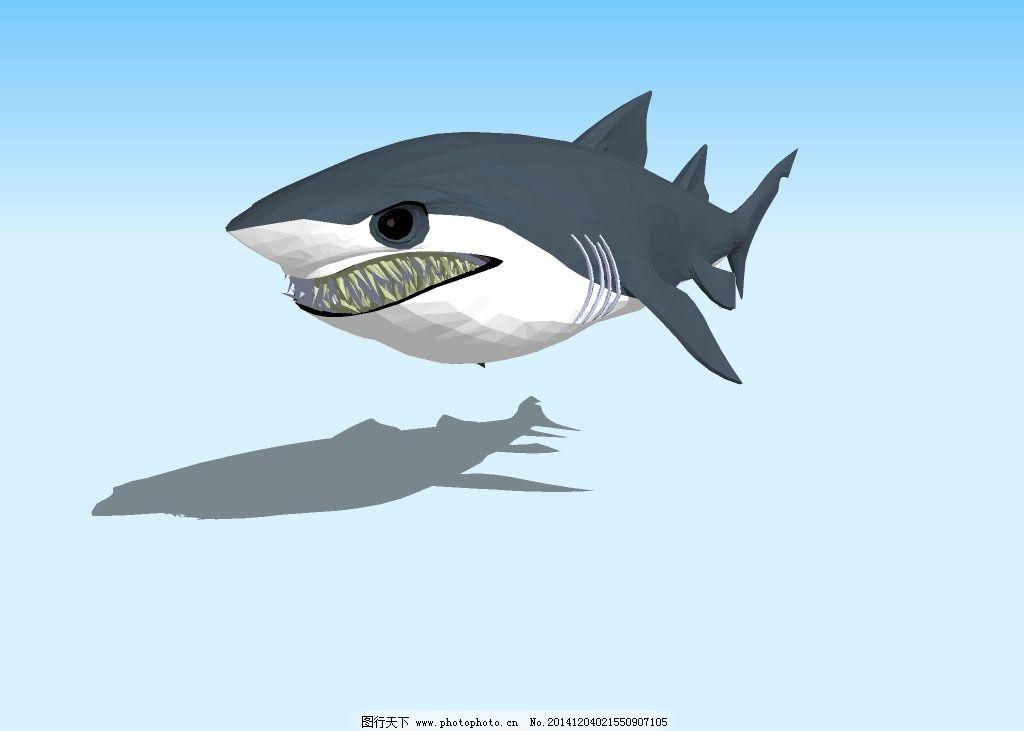 卡通鲨鱼3d模型图片_其他