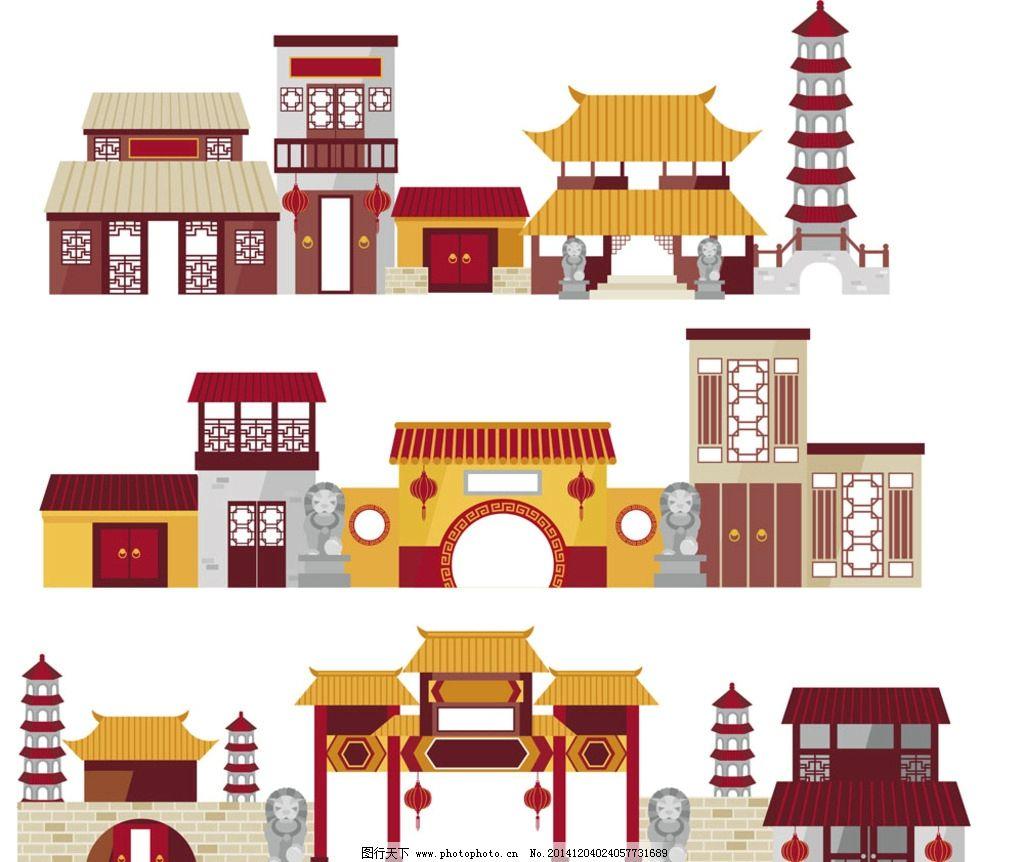 复古风格中国古建筑 复古风建筑 古代房屋 中国风建筑 卡通建筑物
