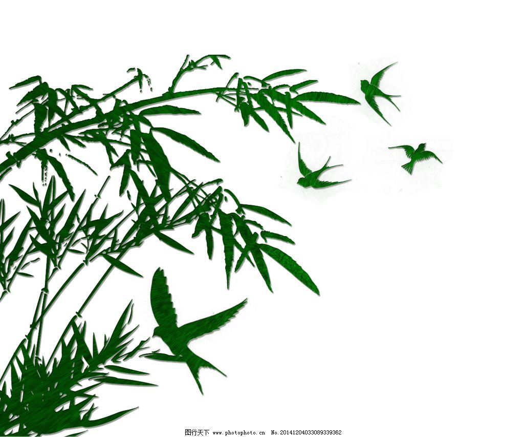 簇状竹子手绘立面