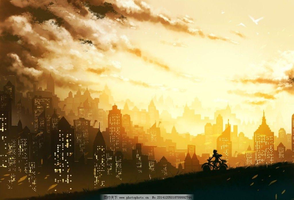 天空城市手绘图片