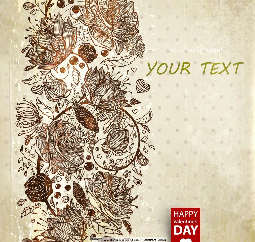 复古花卉 手绘 复古手绘风 背景 矢量素材 复古 感动 插图 婚礼 花纹