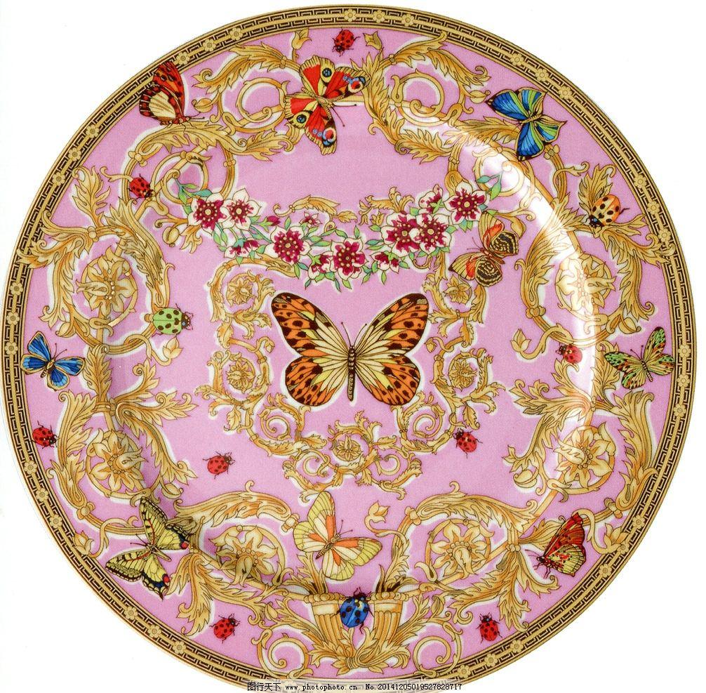 范思哲陶瓷 蝴蝶 欧式 图腾 粉金色