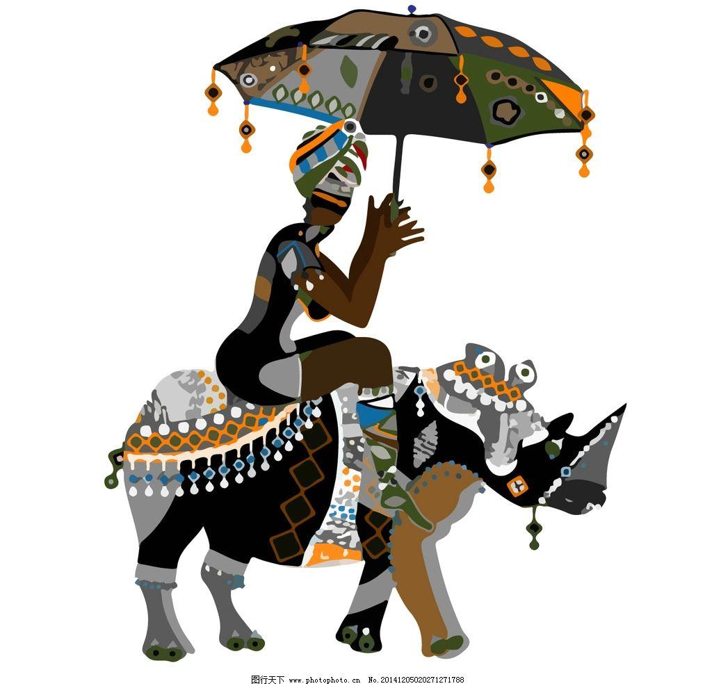 民族图案 犀牛矢量图 手绘犀牛 封面图案 手绘动物 背景图案 设计