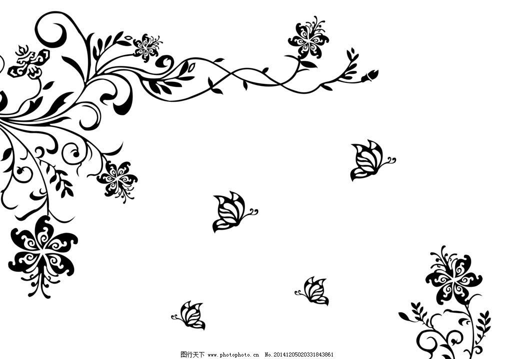 花朵 抽象 画框 设计 底纹边框 花边花纹-手绘精美卷藤花朵蝴蝶卡片