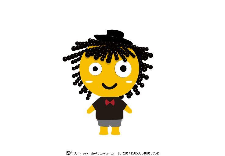 儿童 蝴蝶结 卡通 可爱 帽子 人物 卡通 人物 矢量图 头发 黄色小人图片