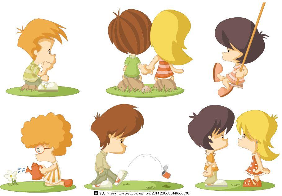 荡秋千 儿童 浇水 卡通 可爱卡通人物 手拉手 手牵手 小孩 小男孩 小