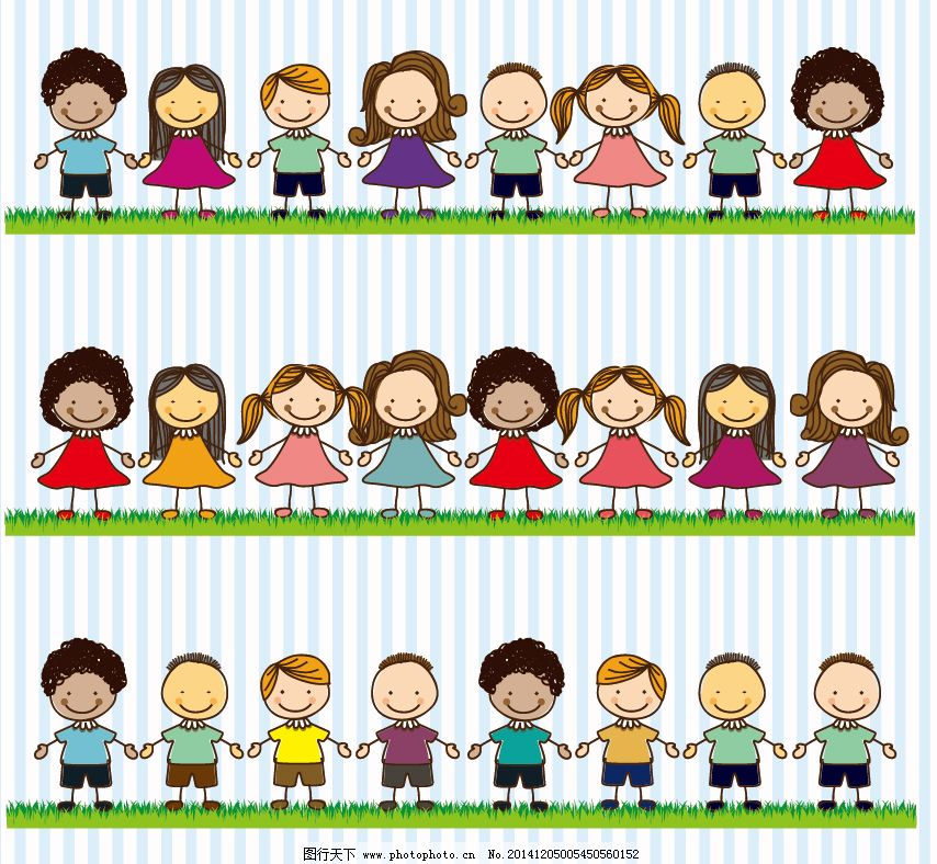 卡通 小孩 儿童 小朋友 小男孩 小女孩 手牵手 手拉手 矢量图 矢量图片