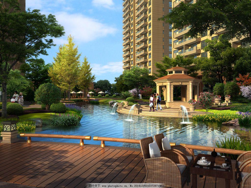 室外 水景 亭子 小区 效果图 室外 建筑 景观 小区 亭子 水景 效果图