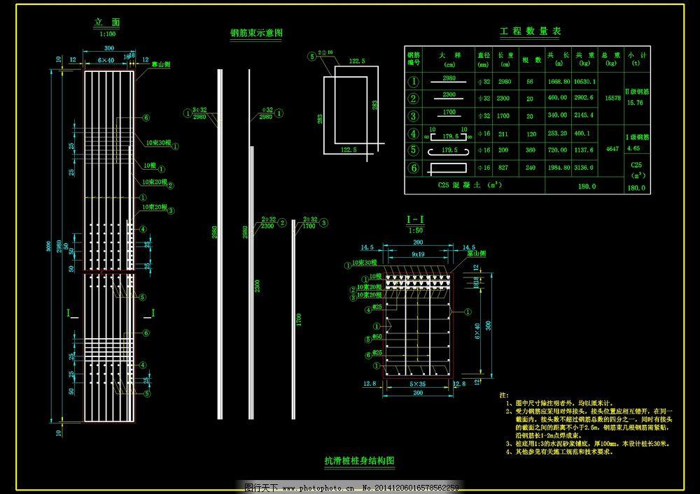 抗滑桩桩身结构图免费下载 cad cad图纸 工程图 抗滑桩桩身结构图