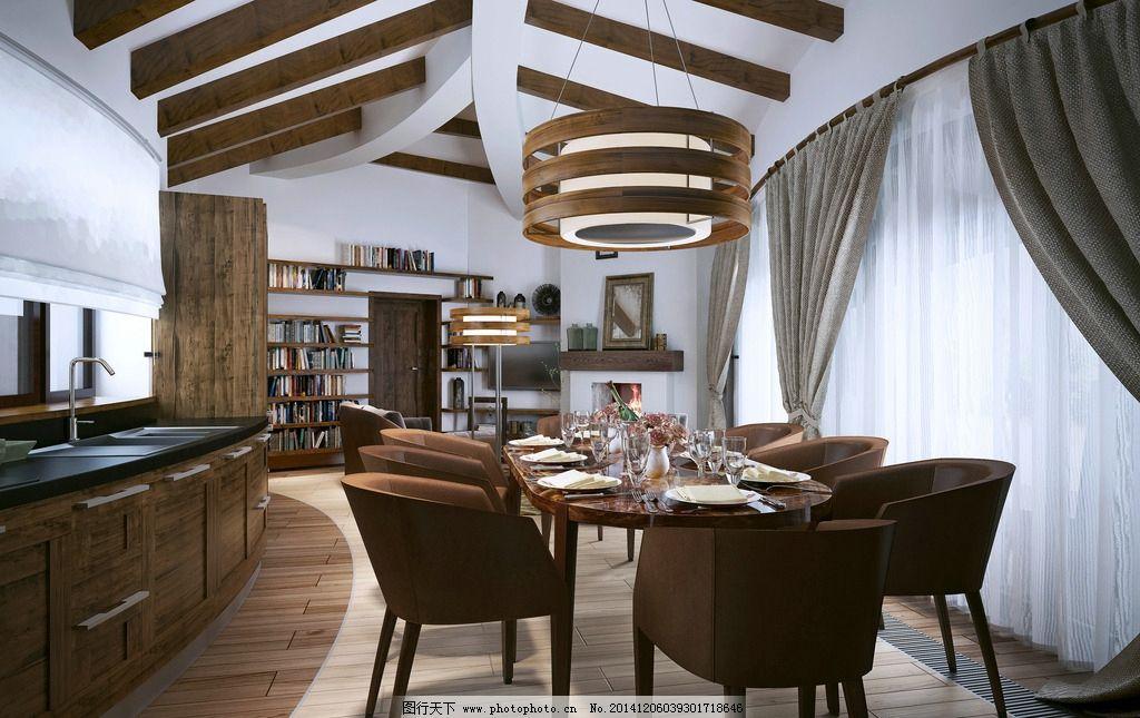餐厅 餐桌 椅子 木地板 书架 洗手池 室内摄影 建筑园林