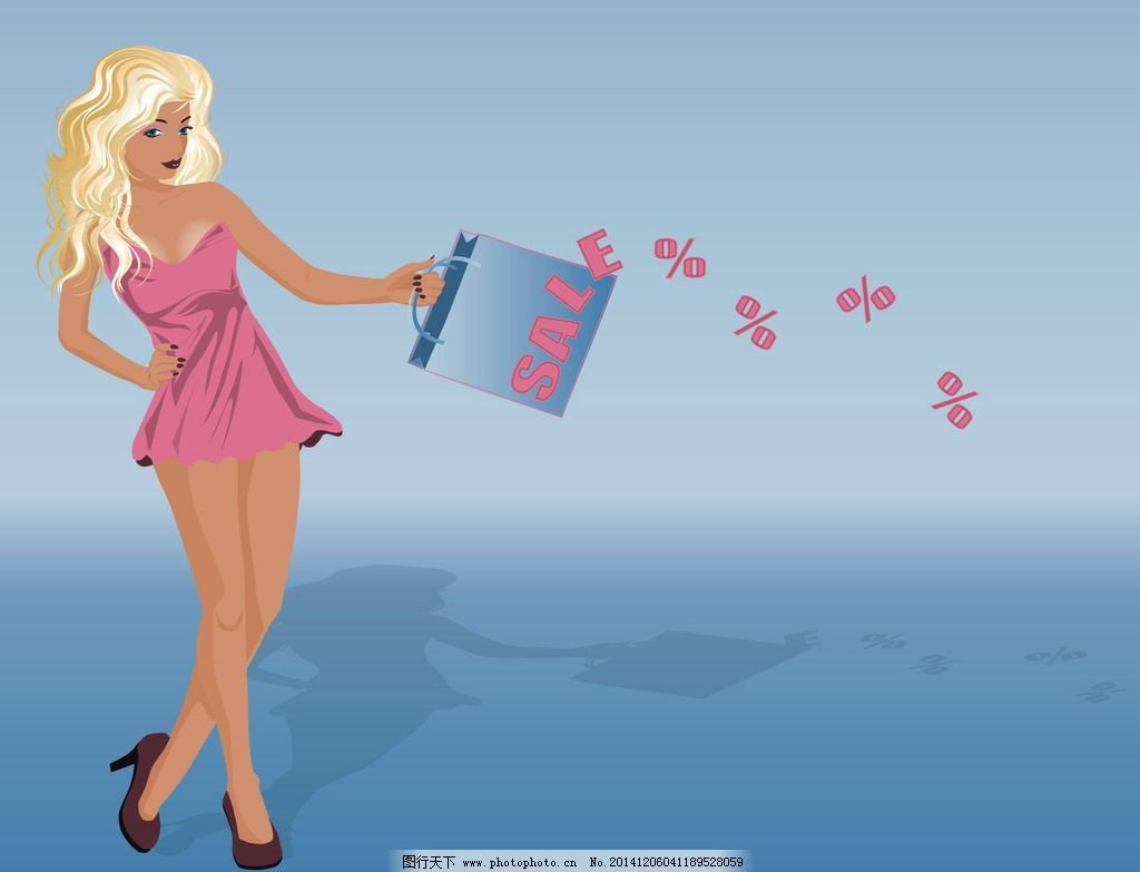 购物美女图片,手绘美女 女人 女孩 时尚美女 性感美女
