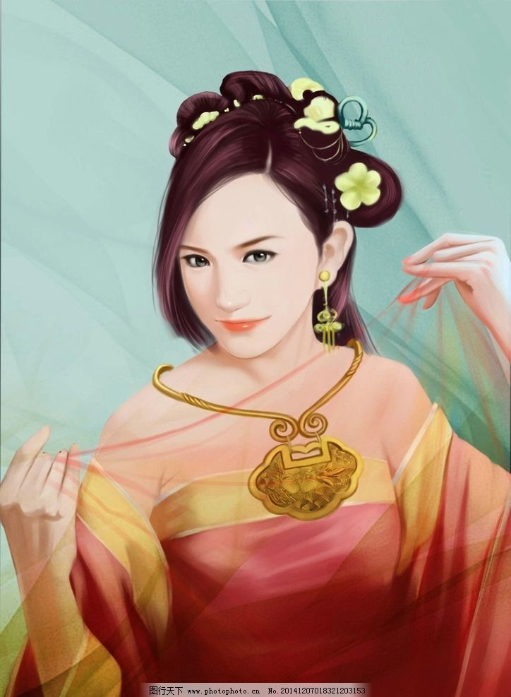 古典美女手绘 手绘美女 插画 手绘插画 古典插画 图片大全 高清图片