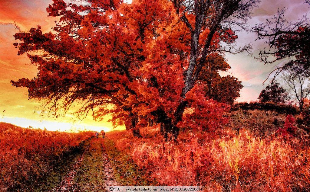 树林水彩画图片