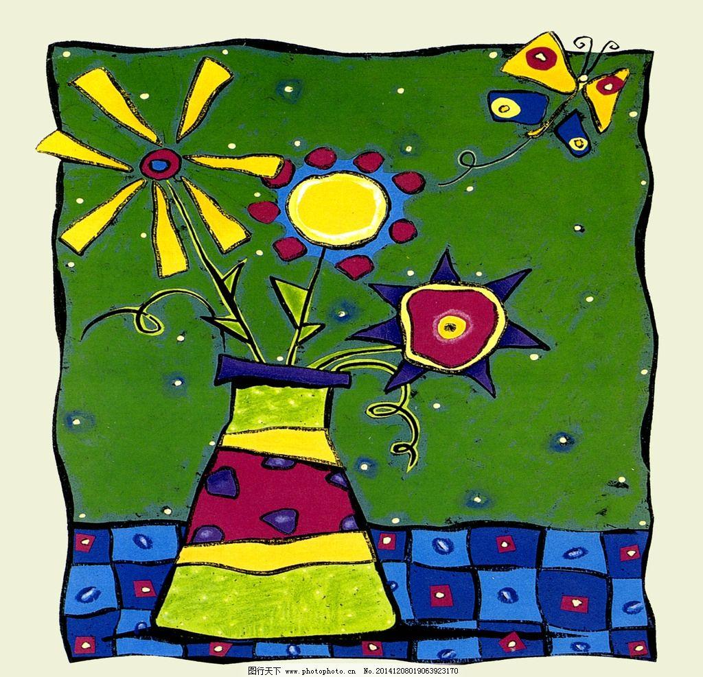 儿童水粉装饰画图片_花瓶画_花瓶_花瓶画花纹图案_花瓶图片_宝宝育儿网