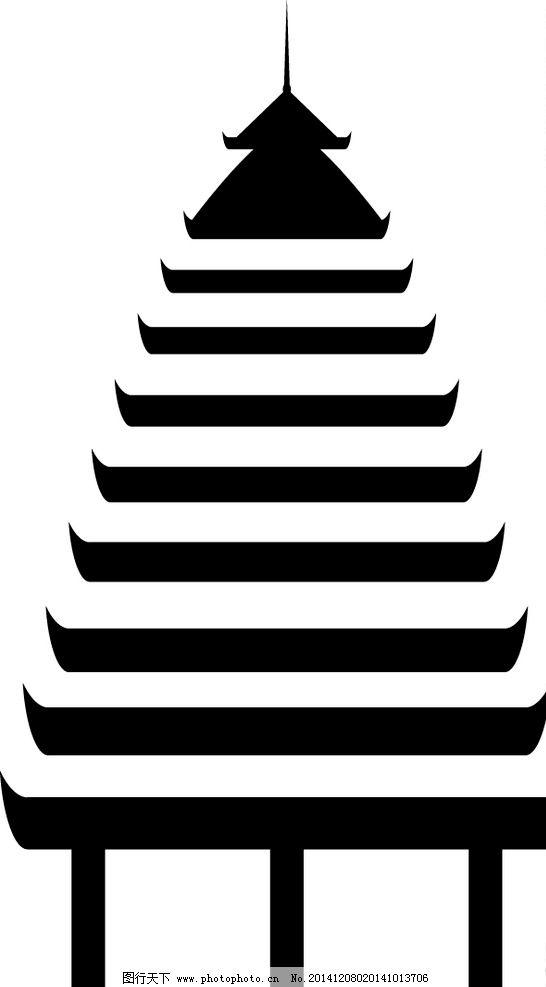 贵州原生态侗族 鼓楼 矢量图片