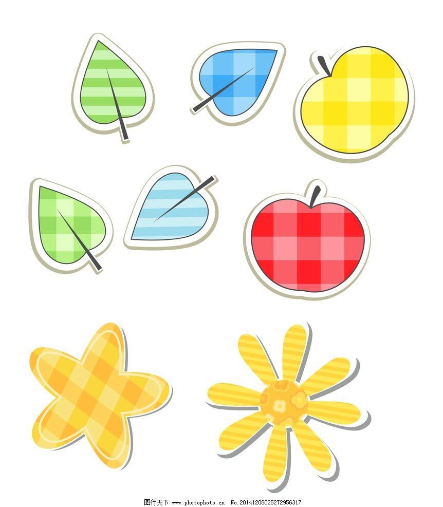 卡通 苹果 树叶 花朵图片