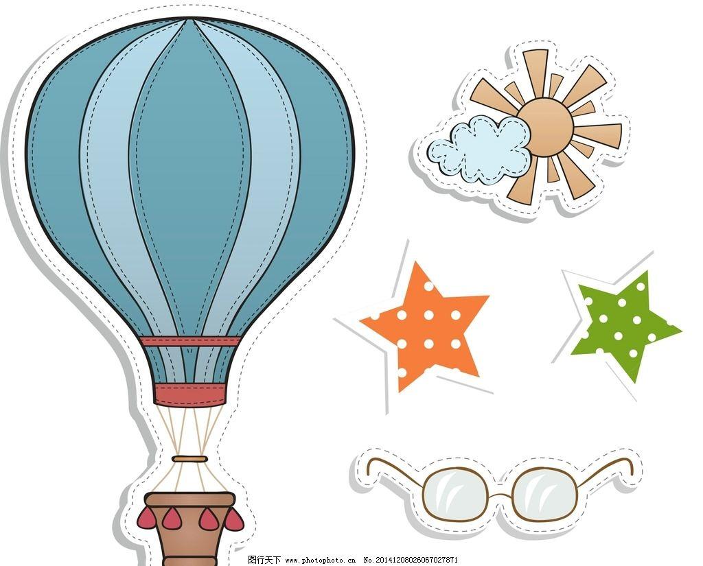 可爱热气球贴图