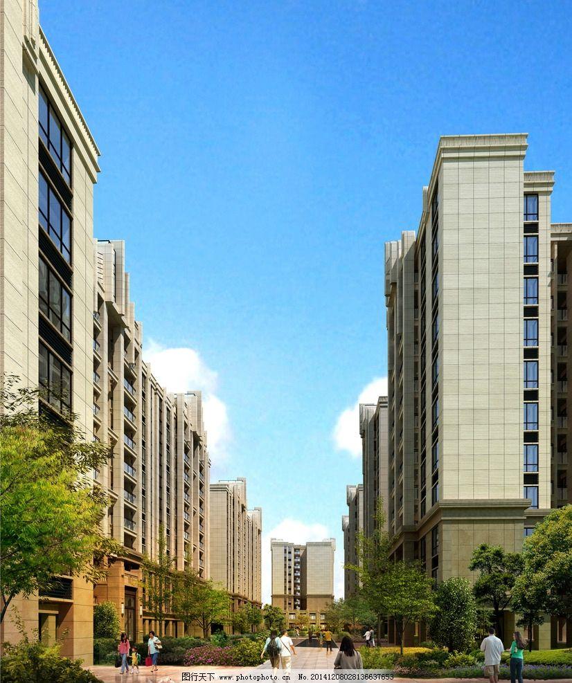 小区 建筑 设计 内景 透视图         设计 环境设计 景观设计 300dpi