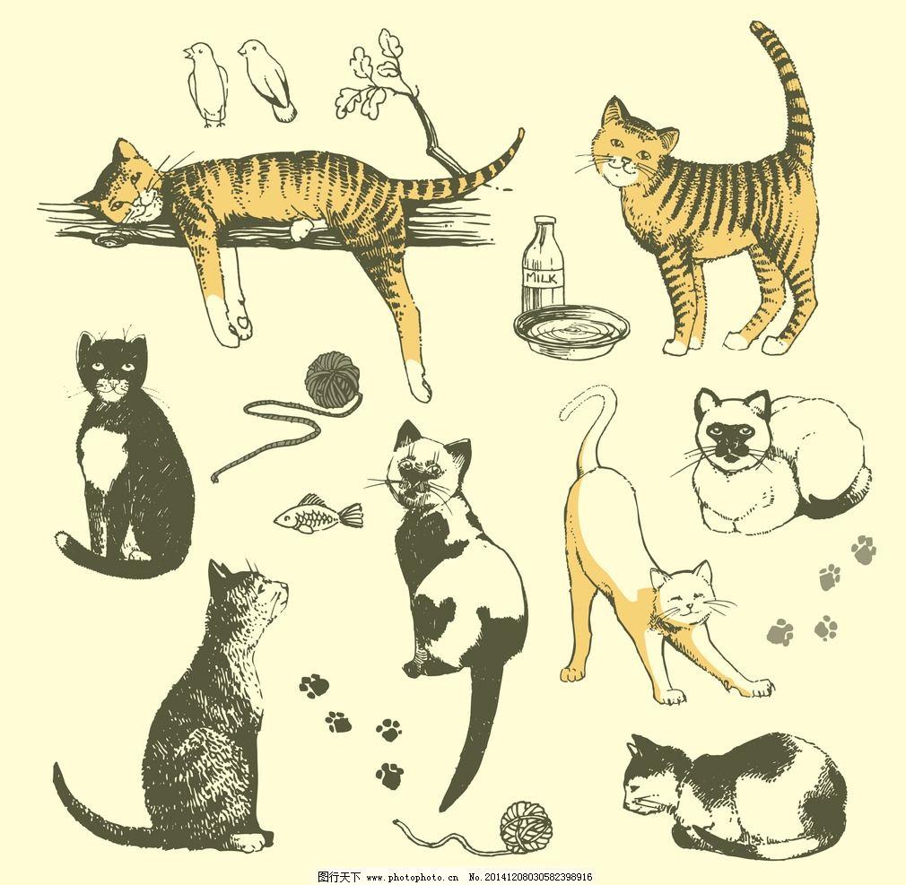 手绘 猫咪 卡通 可爱 矢量 动漫动画 其他
