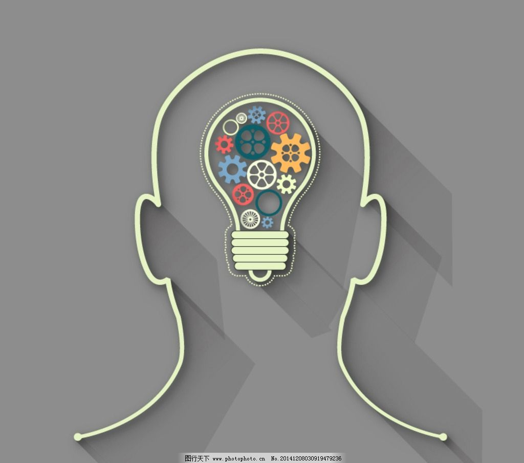 大脑头 齿轮 灯泡矢量素材 思维创意 创意大脑 设计 广告设计 国内