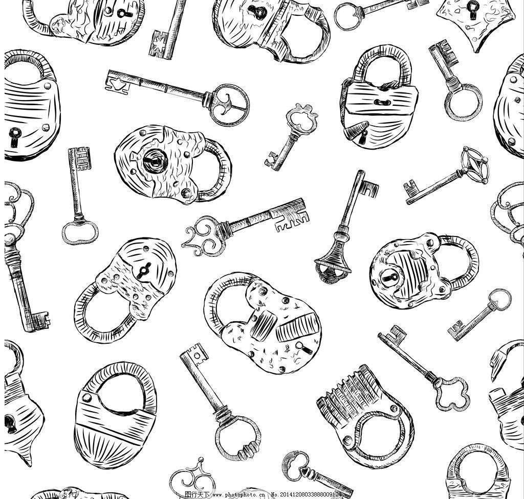 复古手绘钥匙 锁图片
