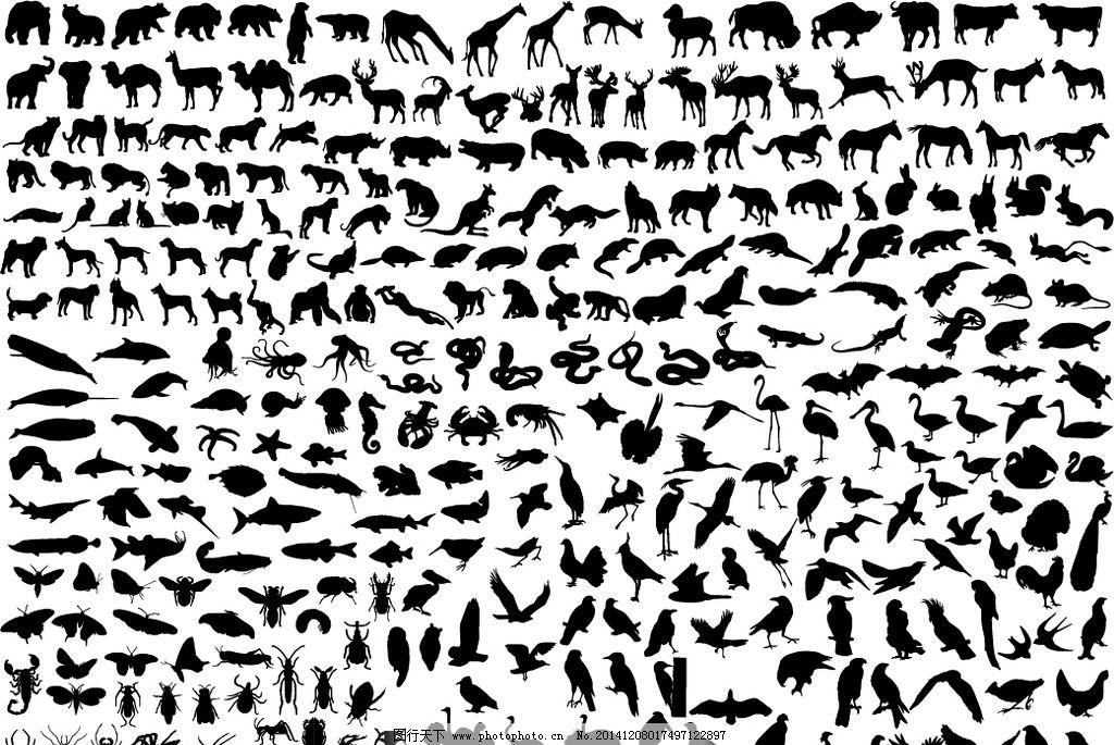 动物剪影图片,熊 鲨鱼 狮子 鳄鱼 鸟 长颈鹿 鹤-图行