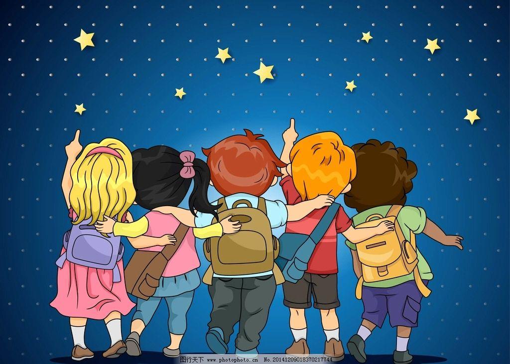 背影 卡通 小孩 指向天空 背书包 动漫 童年 小朋友 设计 动漫动画