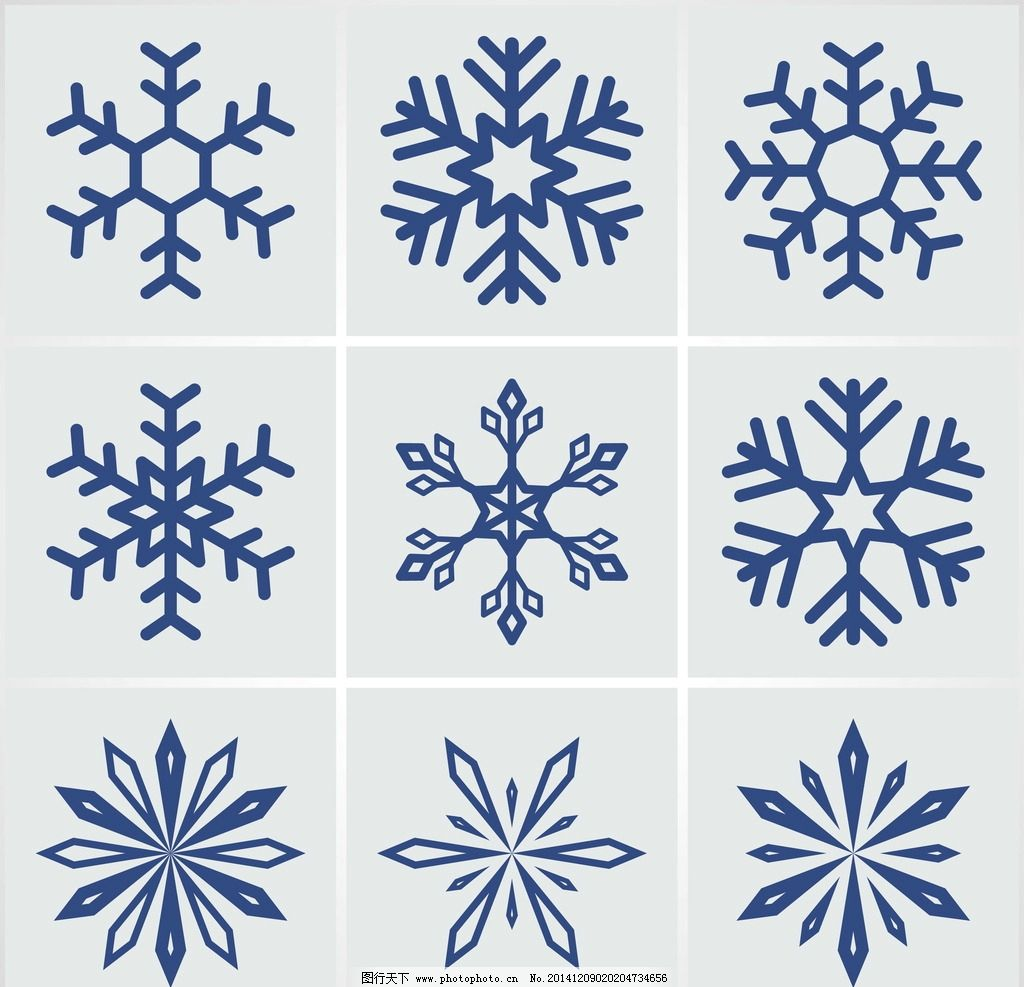 雪花图案 花纹 手绘 蓝色雪花 矢量 雪花花纹 底纹背景 底纹边框