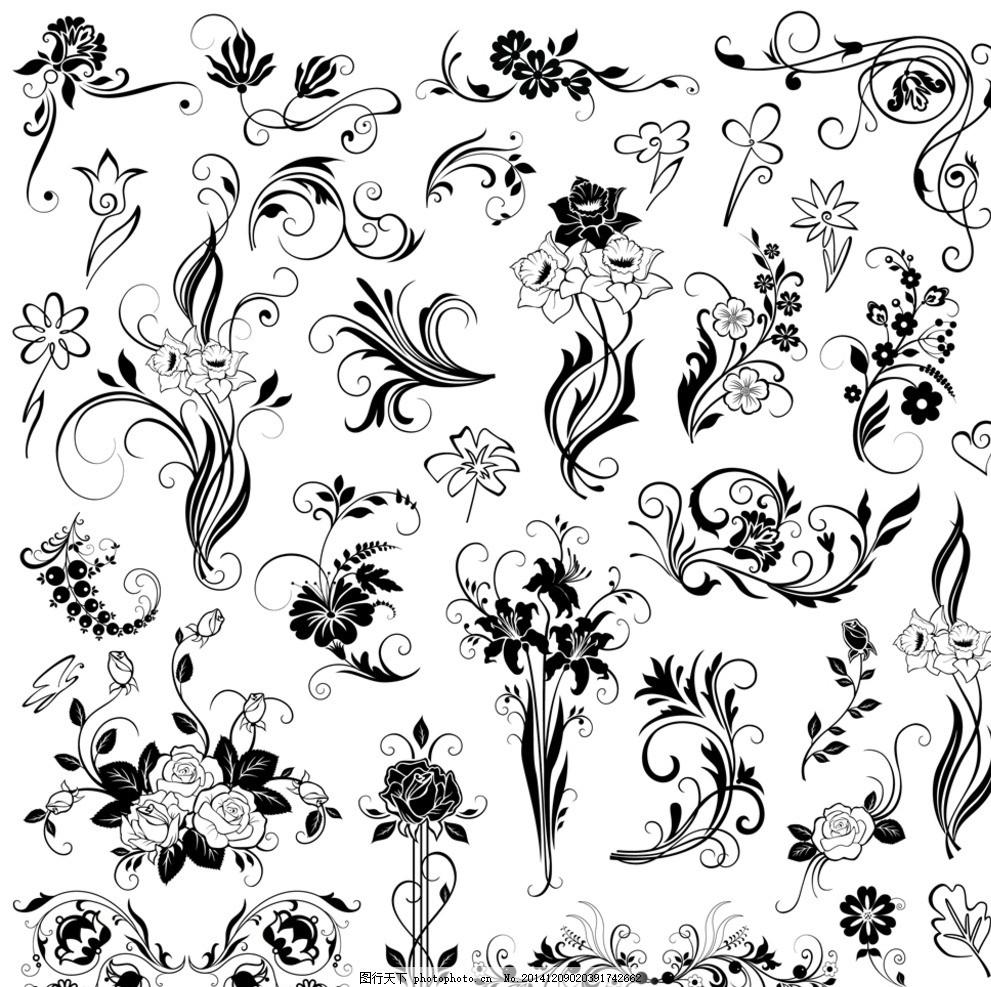花纹边框元素 植物花纹 雪花 怀旧花纹 欧式复古花纹 黑白花纹边框