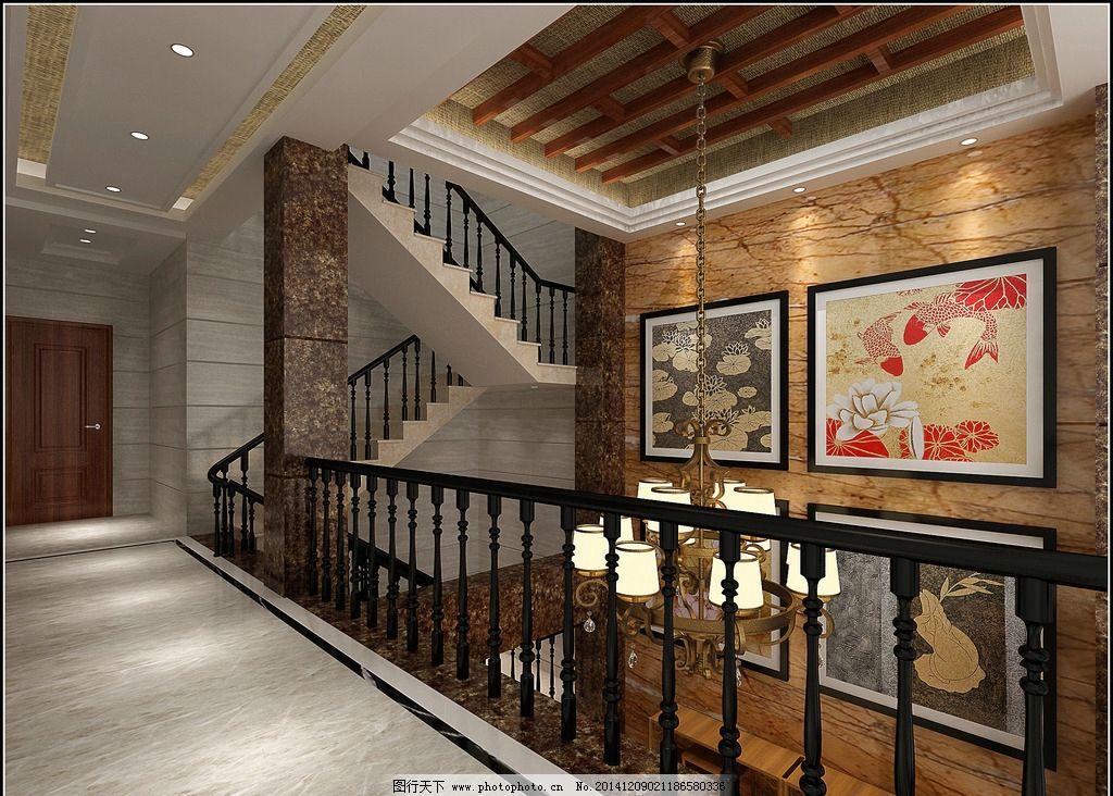 楼梯 楼中楼 画框 楼梯扶手 灯光        室内效果图        设计 3d
