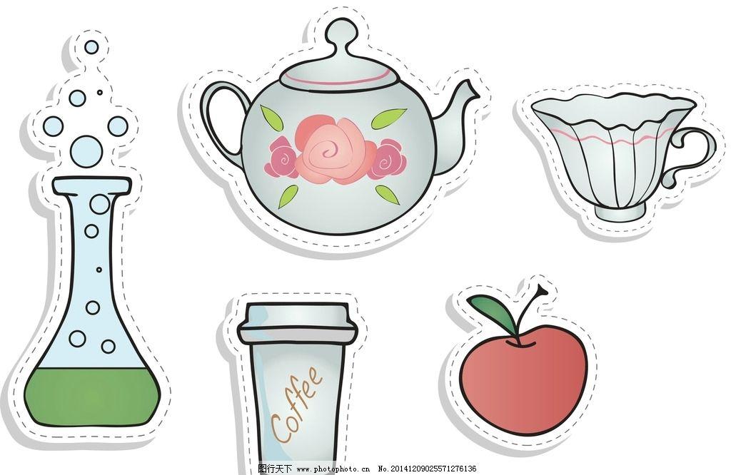 卡通矢量素材 茶壶 卡通茶壶 矢量茶壶 手绘茶壶 茶杯 卡通茶杯 手绘