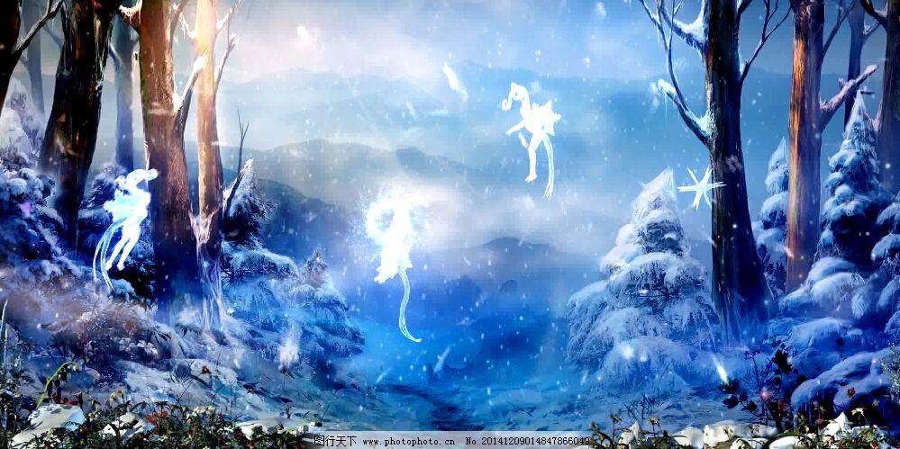 梦幻舞台led背景森林雪精灵视频