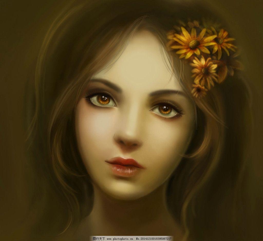 动漫人物  手绘美女 电脑手绘 头像 手绘头像 插画 cg 清新 肖像 鼠