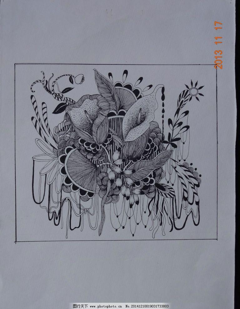 黑白 插画 植物 百合 装饰 设计 文化艺术 绘画书法 350dpi jpg