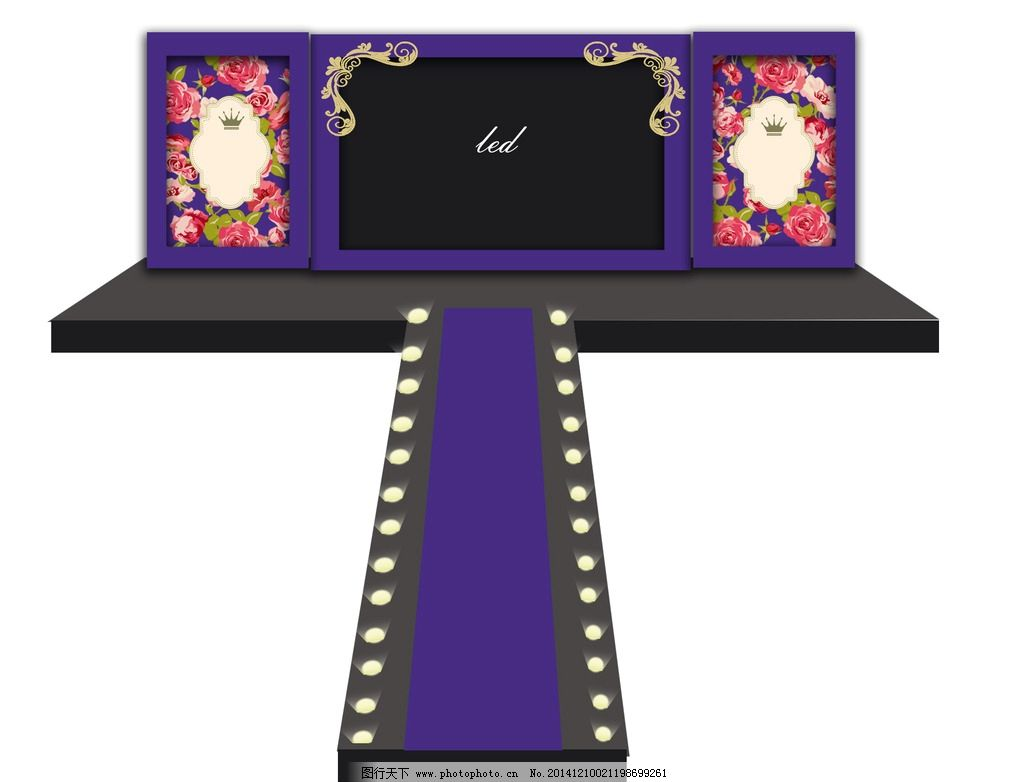 紫色复古婚礼设计图图片