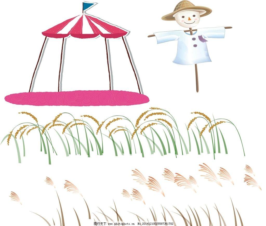 高粱水稻简笔画