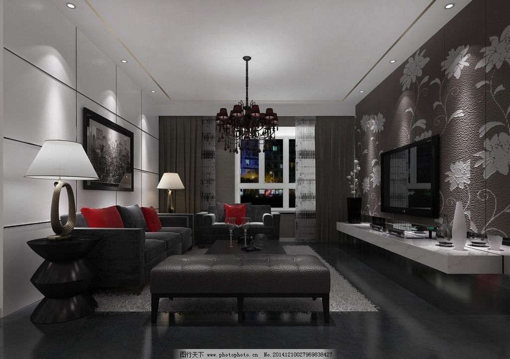 黑白灰色客厅装修