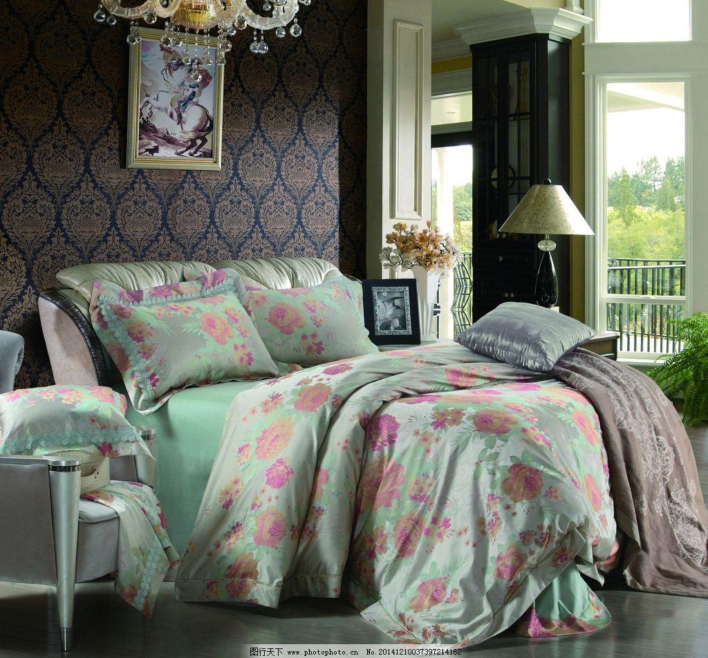 印花床品套件 绿色床品